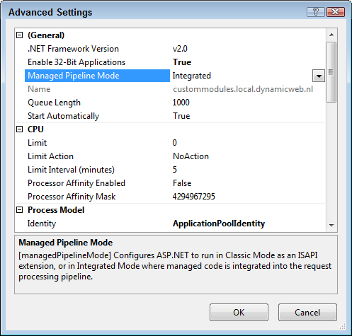 The Application Pool settings dialog for the application